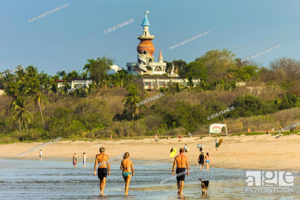 Stock Photo Walkers The Nosara Beach Hotel At Por Playa Guiones Nicoya Peninsula Guanacaste Province Costa Rica Central America
