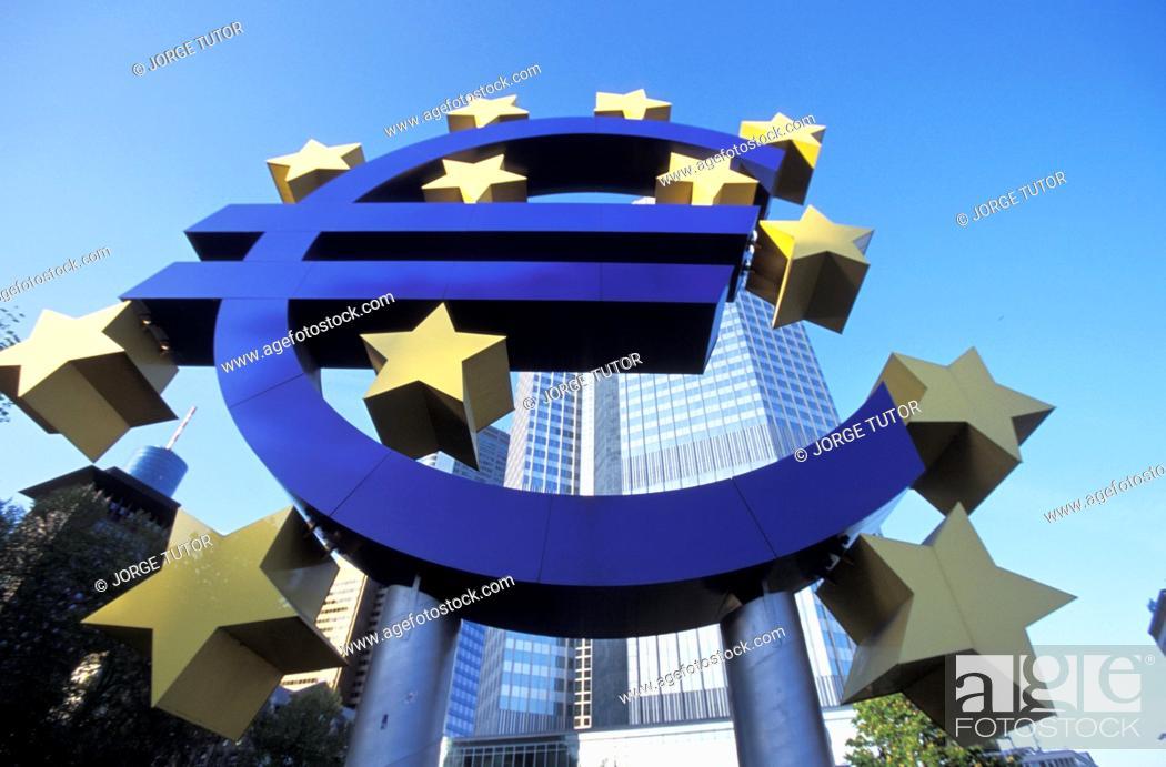 Stock Photo: Euro symbol in front of the European Central Bank headquarters in Frankfurt, Germany Willy-Brandt-Platz Willy-Brandt-Platz.