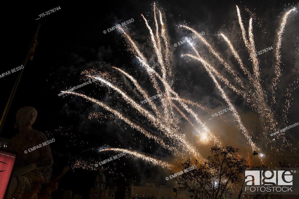 Stock Photo: Fireworks. Fallas festival. València. Spain. 2019.