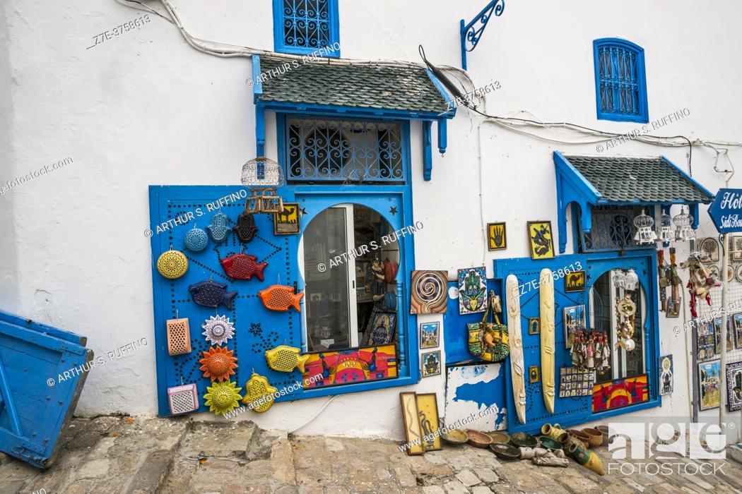 Stock Photo: Hillside shops along the cobbled streets of Sidi Bou Said. Tunisia, Africa.