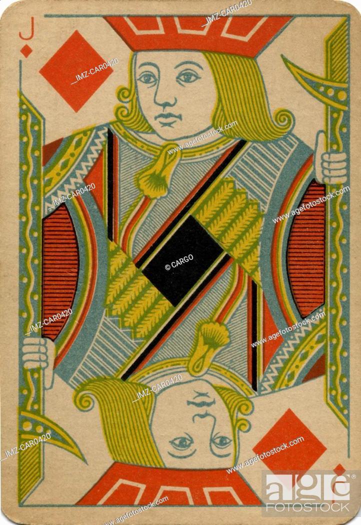 Stock Photo: Jack of Diamonds vintage playing card.