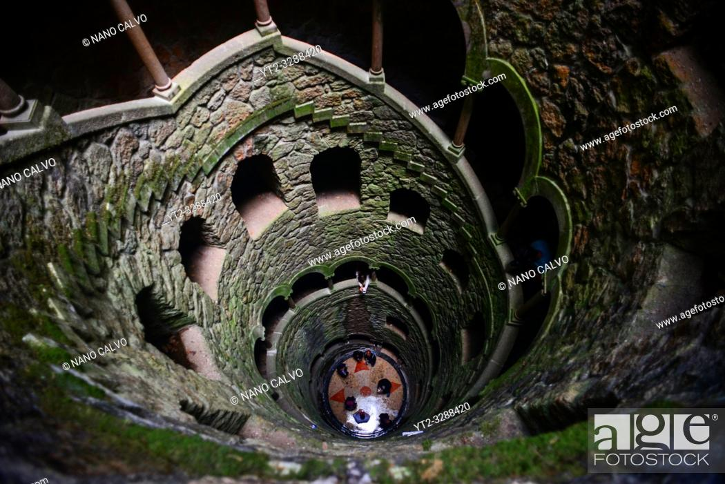 Stock Photo: Initiation Well at Quinta da Regaleira, Sintra, Portugal.