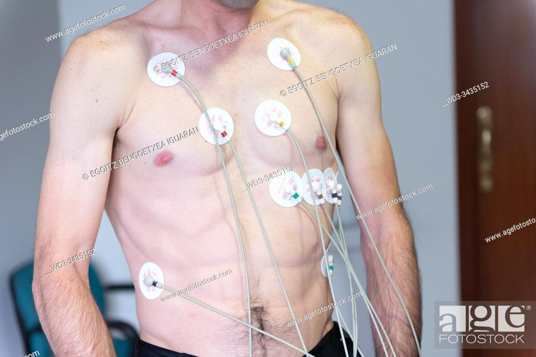 Stock Photo: Exercise stress test or effort electrocardiogram.