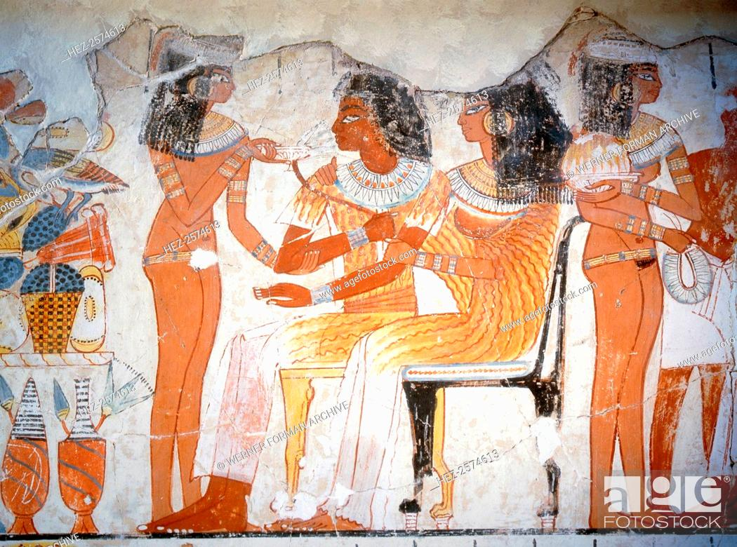 Stock Photo: A detail of a wall painting from the tomb of Nebamun depicting women guests at a banquet. The women wear elaborate gowns.