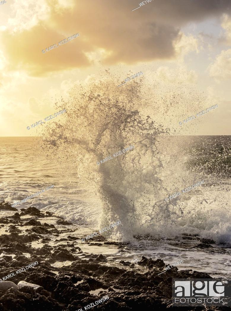 Stock Photo: The Blowholes at sunrise, East End, Grand Cayman, Cayman Islands.