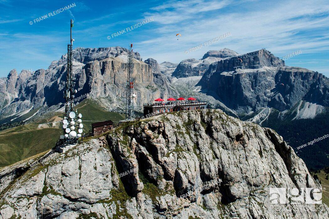 Stock Photo: Col Rodella, wall bars, view terrace, the Dolomites, Rifugio Col Rodella, Ferrata Col Rodella, Sella group, mast, paraglider, aerial picture, high mountains.