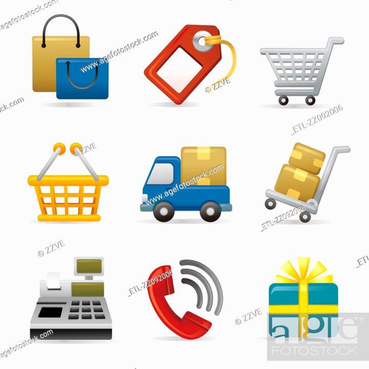 Stock Photo: Shopping Icon set.