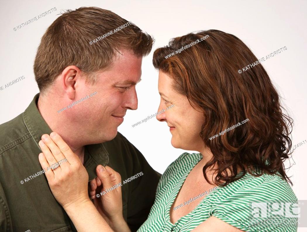 Stock Photo: Flirtatious heterosexual couple.