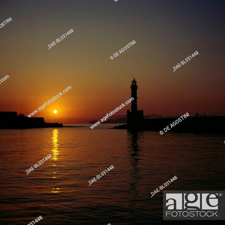 Stock Photo: Lighthouse at dusk, Chania, Crete, Greece.