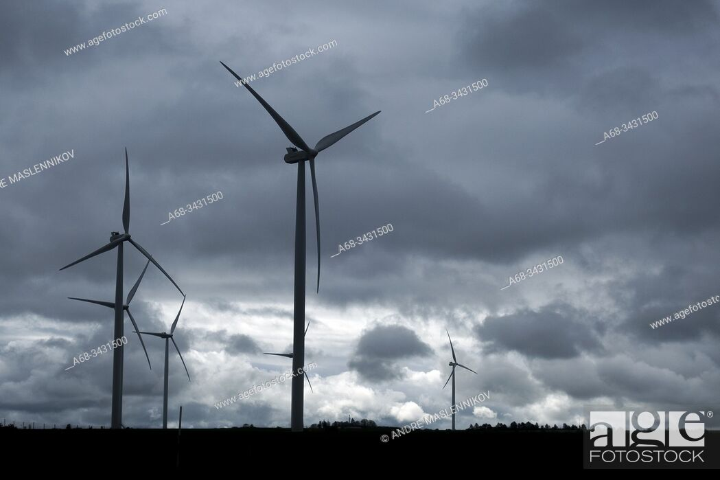 Stock Photo: Wind power plant, France.