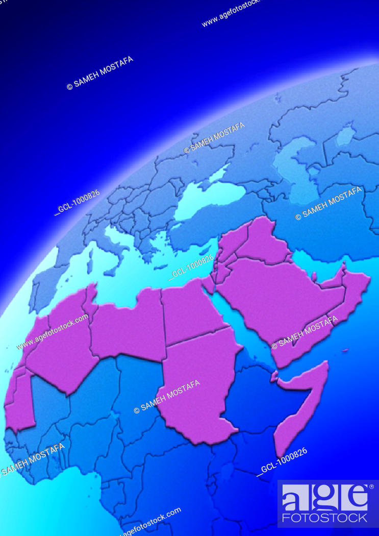 Stock Photo: Arab Countries on Globe.