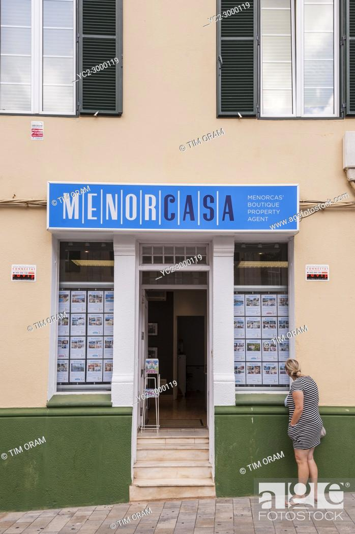 Stock Photo: An Estate Agent at Mahon , Menorca , Balearic Islands , Spain.