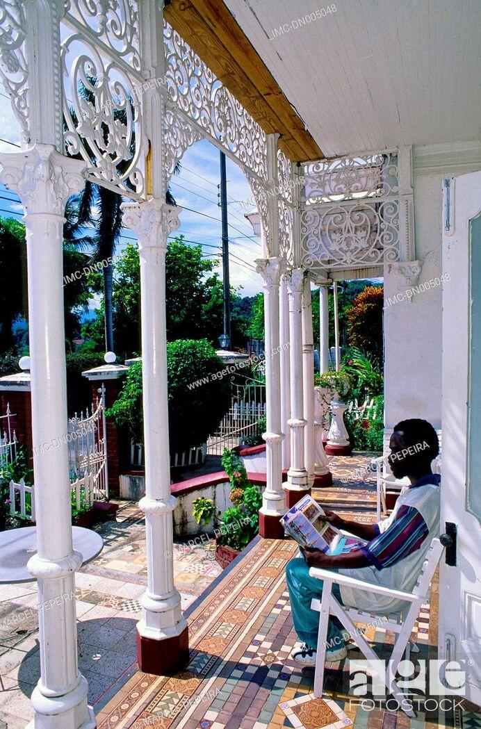 Stock Photo: Jamaica, Port Antonio, colonial style house.