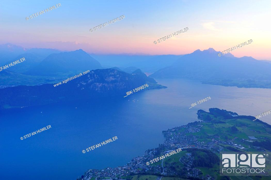 Stock Photo: Lake Lucerne with the village of Weggis, in the distance, Pilatus Mountain, Lucerne, Switzerland, Europe.