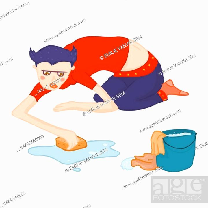 Stock Photo: An industrious Taurus girl scrubbing the floor.