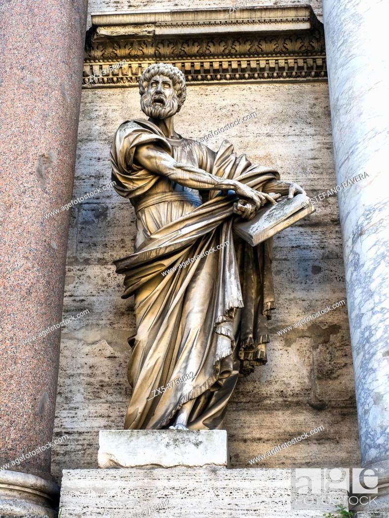 Stock Photo: Statue of St. Paul by Francesco Mochi in the external facade of Porta del Popolo (porta Flaminia) - Rome, Italy.