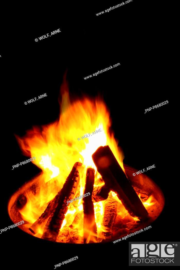 Stock Photo: Bonfire at night.
