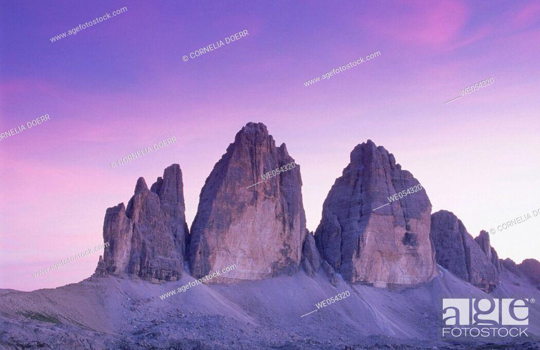 Stock Photo: Tre Cime di Lavaredo (2999 m.), Sexten Dolomites. Italy.