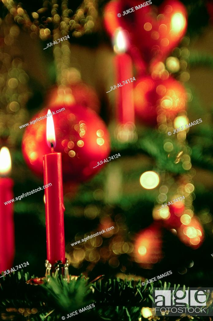 Stock Photo: Detail view of Christmas decorations.