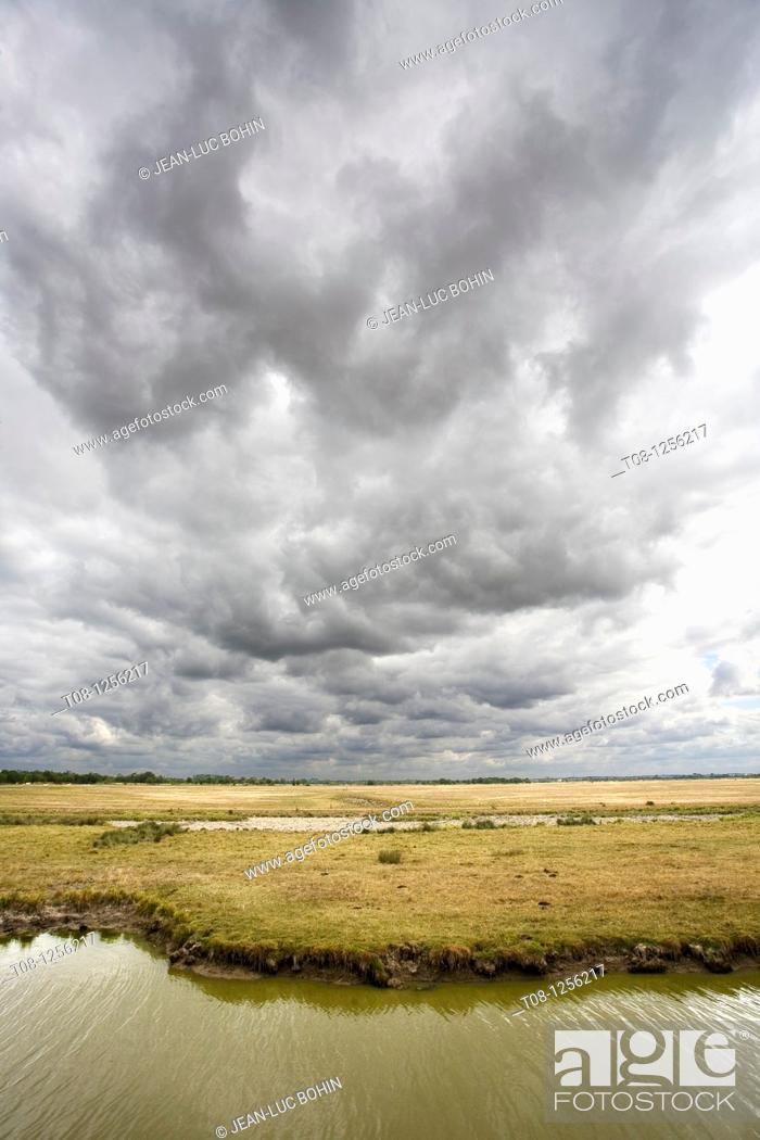 Stock Photo: France, 85, Poitevin, saint benoit sea cloud over a channel.