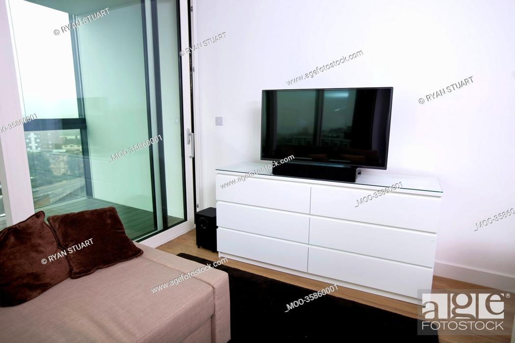 Stock Photo: Interior of apartment with flat screen television.