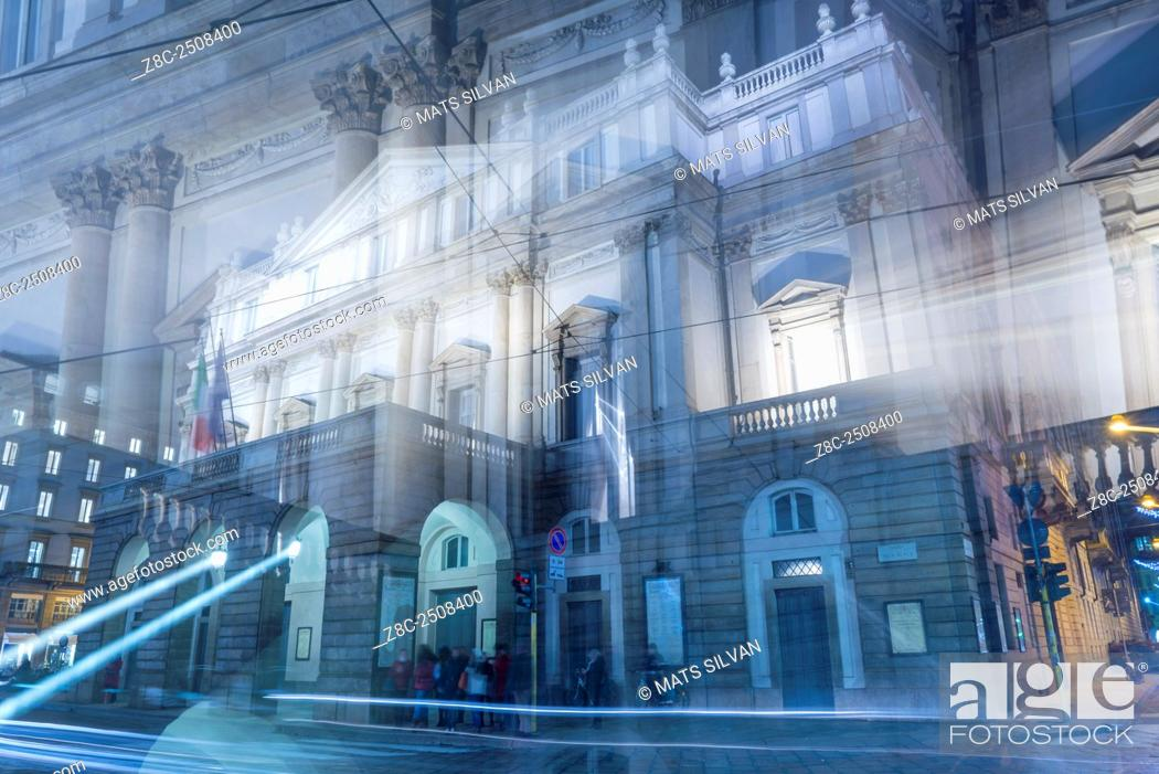 Stock Photo: Scala theater in an artistic way in Milan, Italy.