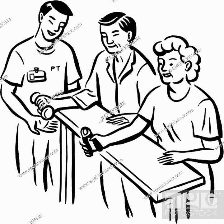 Stock Photo: Patients having a physiotherapy session.
