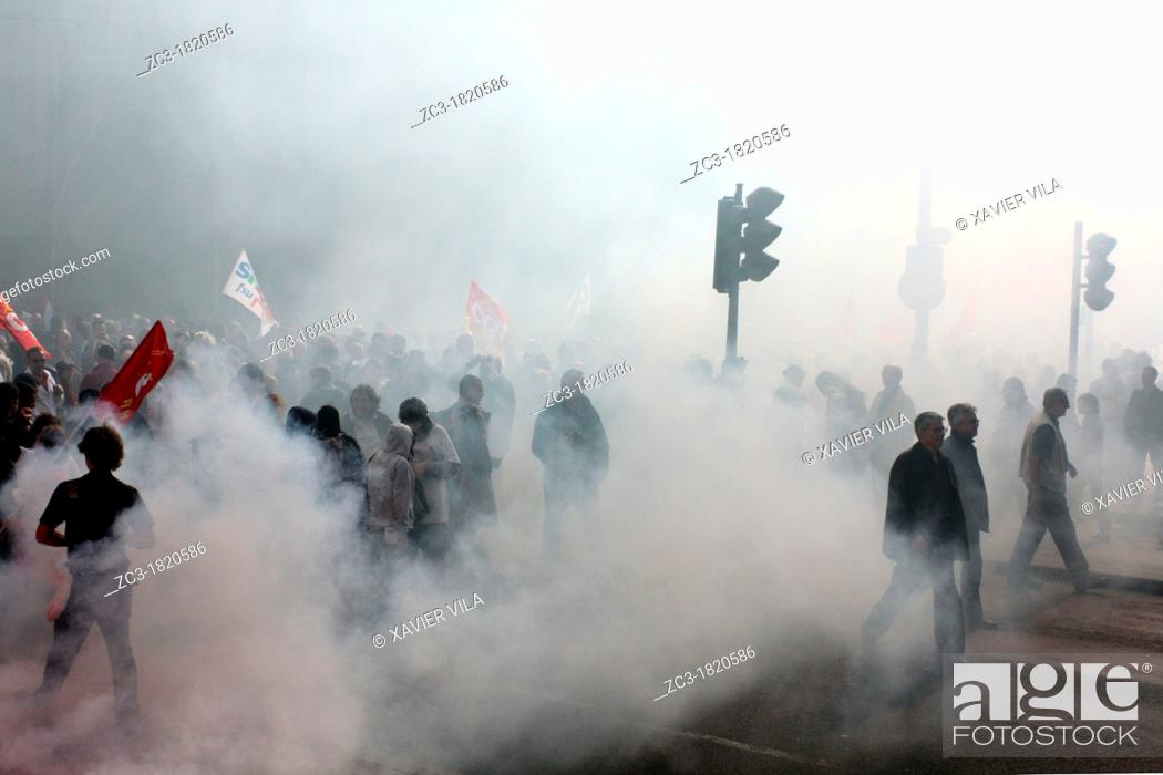 Stock Photo: Demonstration for purchasing power, Lyon, Rhône, Rhône-Alpes, France.