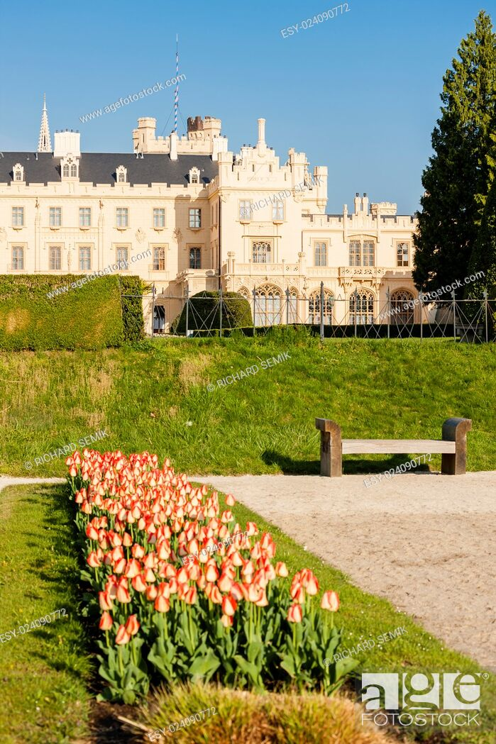 Stock Photo: Lednice Palace with garden, Czech Republic.