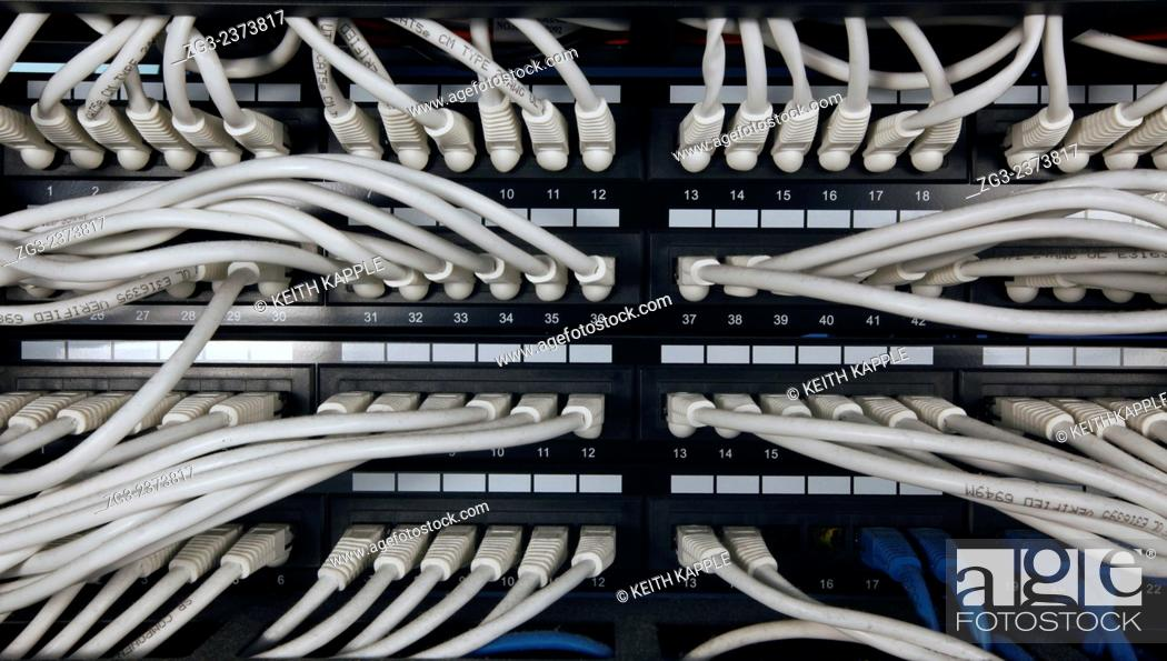 Stock Photo: Close-up view of network server room cables.