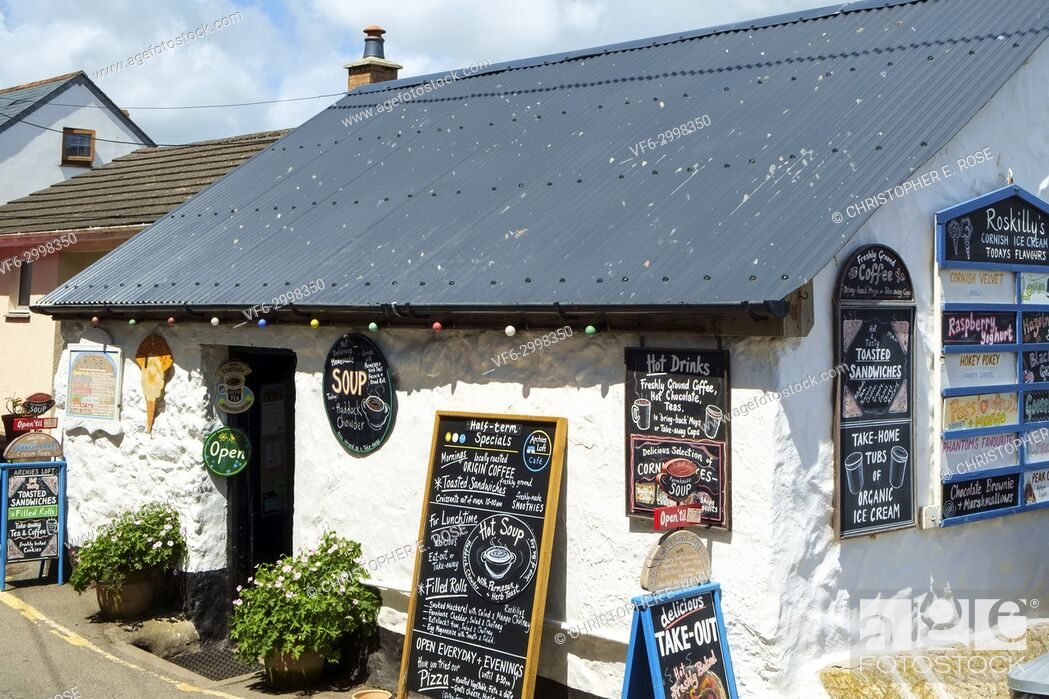 Stock Photo: Colourful menu blackboard menu notice boards on a quaint cafe at Coverack, Cornwall, UK.
