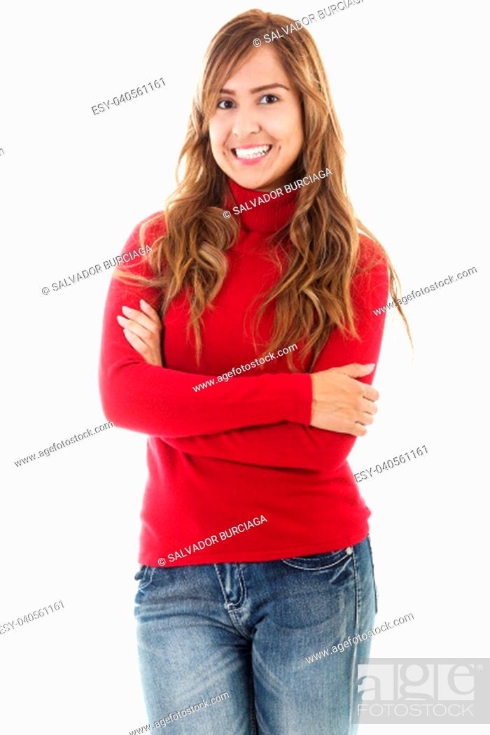 Stock Photo: Stock image of casual woman isolated on white background.