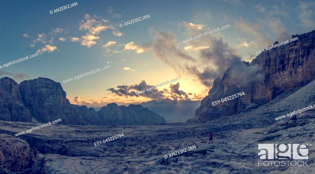 Stock Photo: Panoramic view of mountain sunset. Brenta Dolomites above Madonna di Campiglio, Italy.