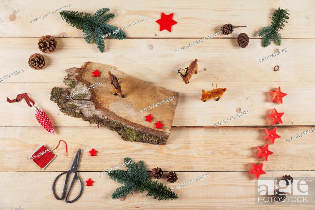 Stock Photo: Items for self-made Christmas decoration.