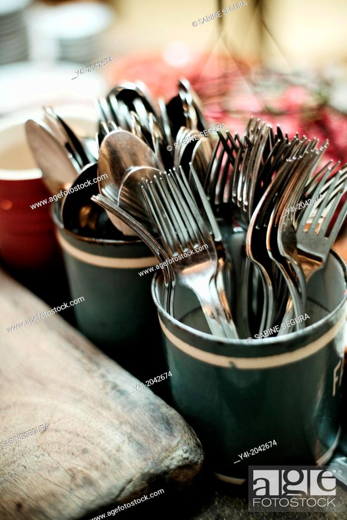 Stock Photo: Forks and spoons. La Tupina. The greedy street. Bordeaux. Gironde. Aquitaine. France. Europe.