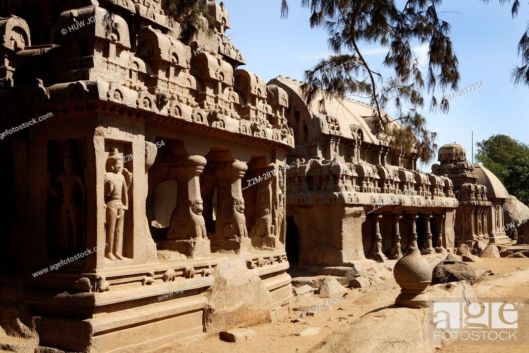 Stock Photo: The Five Rathas Group, Mahabalipuram, UNESCO World Heritage Site, Near Chennai, Tamil Nadu state, India, Asia.