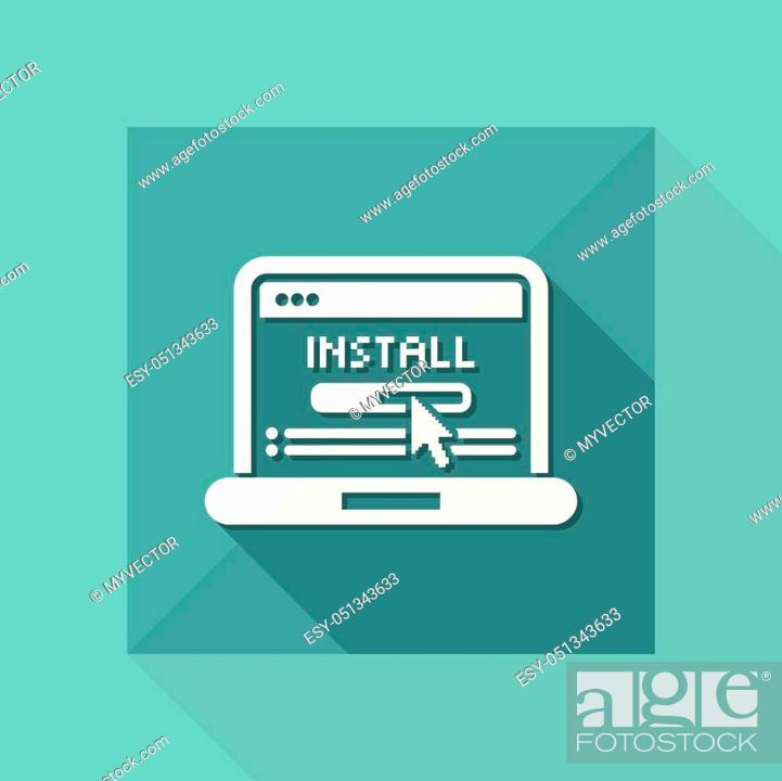 Stock Vector: Pc install icon.