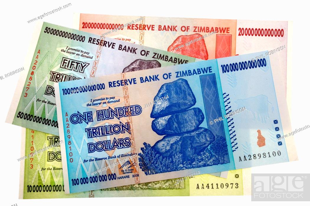 Stock Photo Zimbabwe Banknotes Reflecting Hyper Inflation 10 Trillion To 100 Dollars
