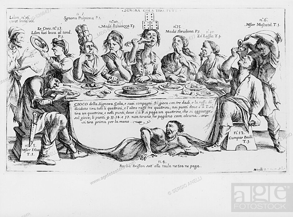 Imagen: The game of lady Gluttony (Il gioco della Signora Gola), by Giuseppe Maria Mitelli, 1699, 17th Century, etching.