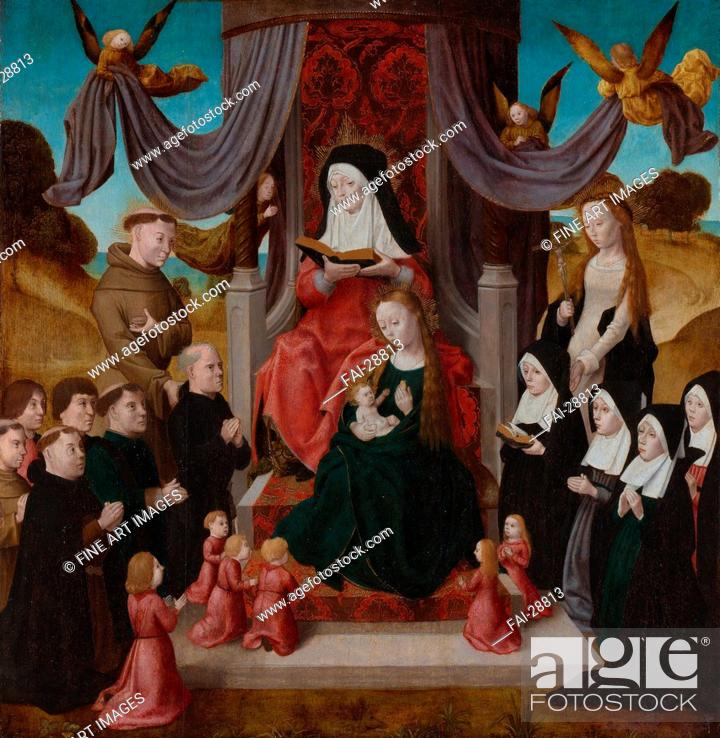 Stock Photo: The Virgin and Child with Saint Anne (Anna Selbdritt), Saints Francis, Lidwina and donors by Netherlandish master /Oil on wood/Early Netherlandish Art/c.