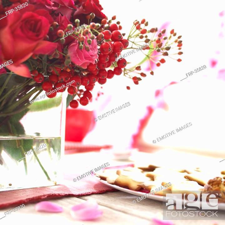 Stock Photo: red bouquet on decorated table.