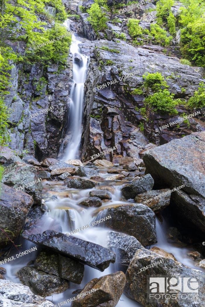 Stock Photo: Silver Cascade in Crawford Notch State Park in the New Hampshire White Mountains during the spring months. This scenic waterfall is a popular roadside.