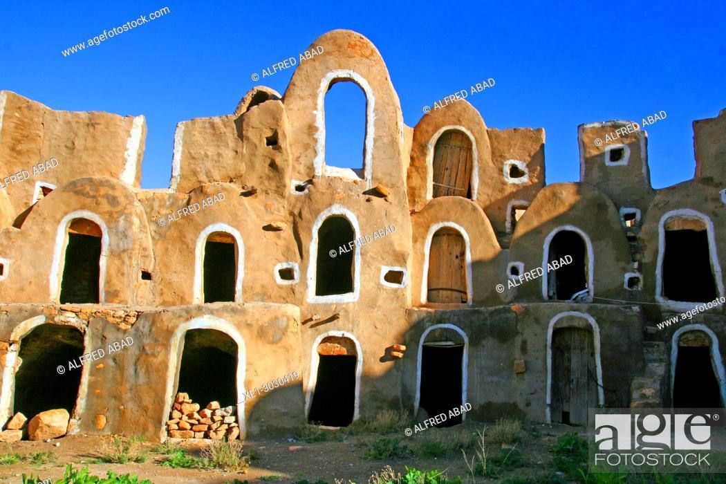 Stock Photo: Ksar, traditional Berber architecture, Ezzahra, Tunisia.