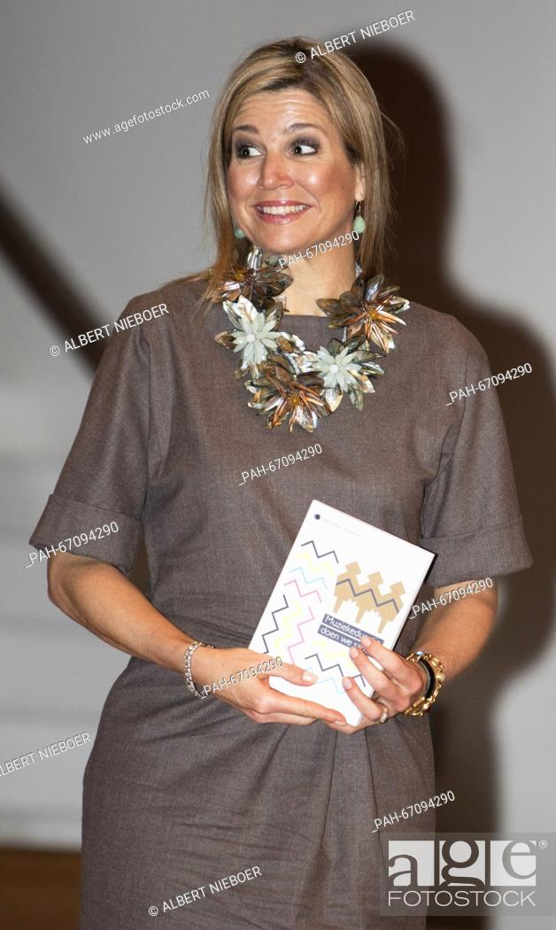 Stock Photo: Amsterdam, 30-03-2016 HM Queen Máxima HM Queen Máxima attends the symposium 'Music Education we do together' in the Amsterdam Conservatory RPE/Albert Ph.