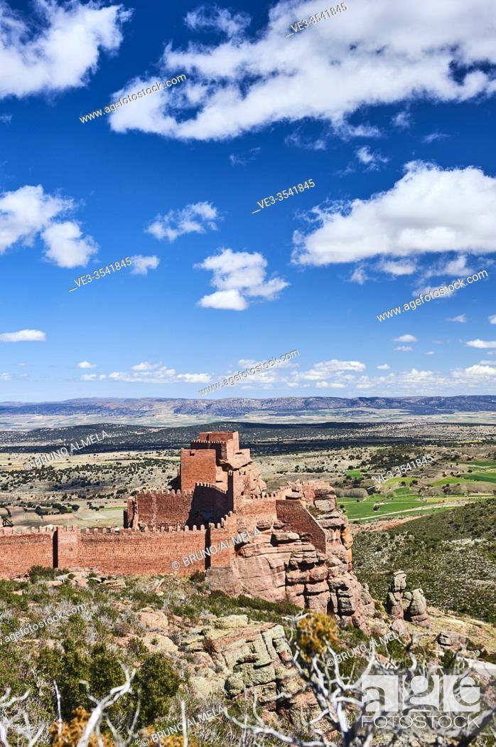 Stock Photo: Peracense Castle in Menera mountain range. In the background Jiloca valley, Teruel province (region of Aragon, Spain).