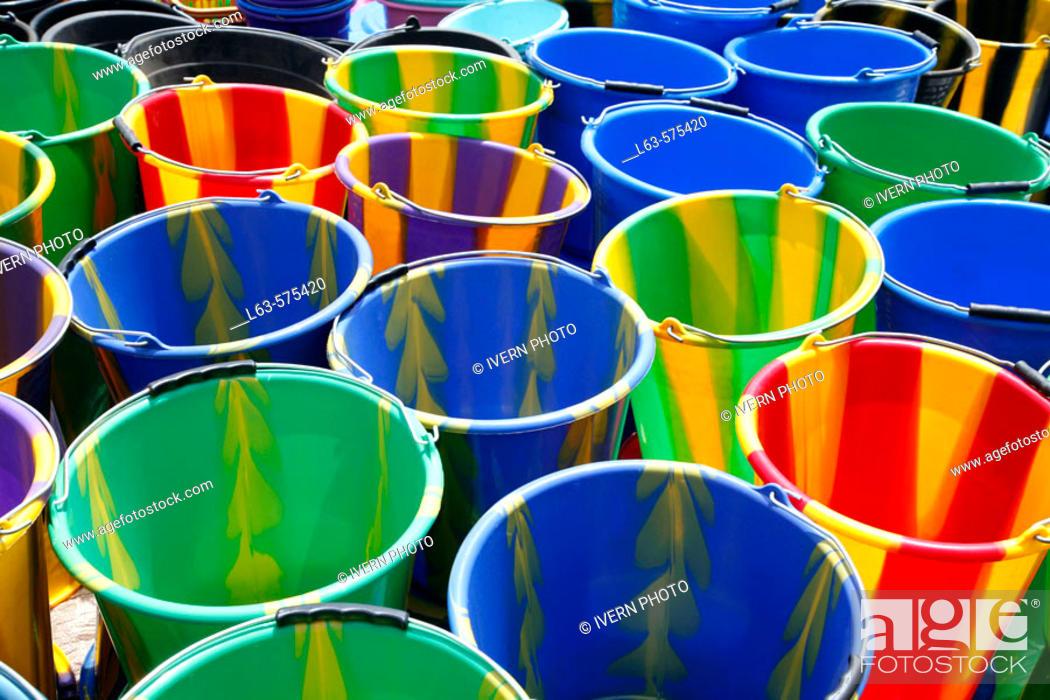 Stock Photo: Multi-coloured buckets at market, Loropeni. Burkina Faso.