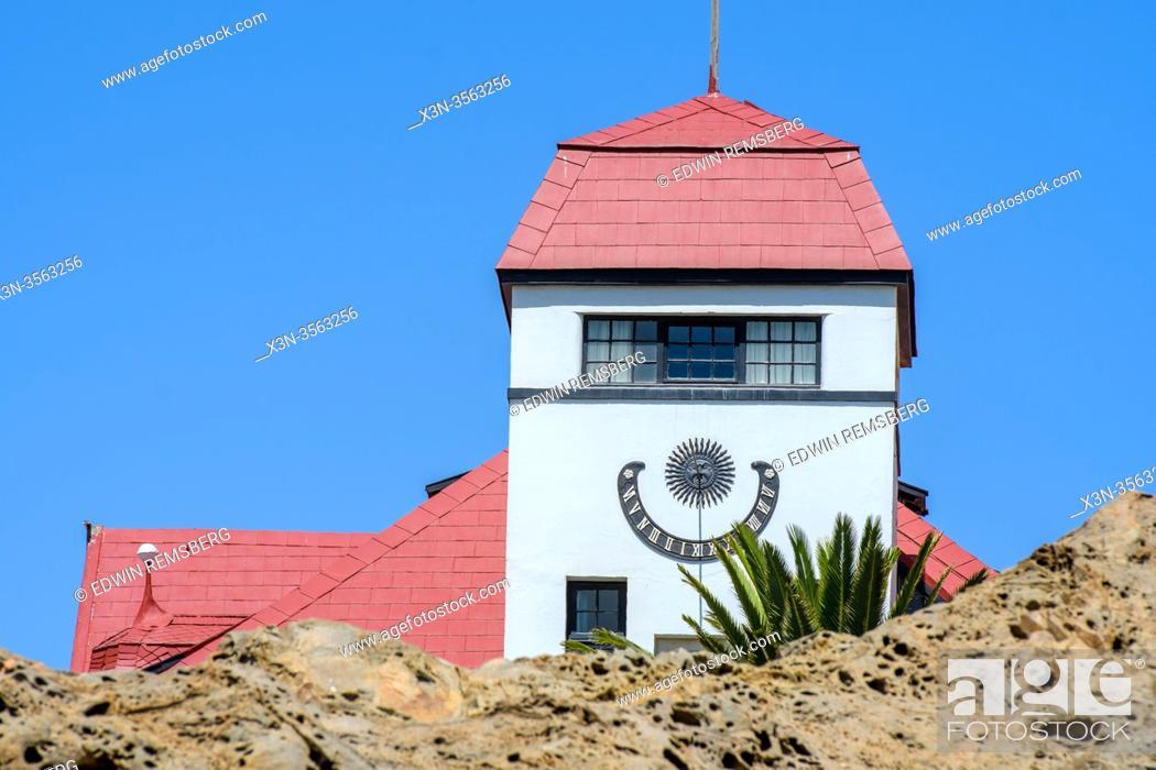 Stock Photo: Sun Clock in Luderitz, Namibia.