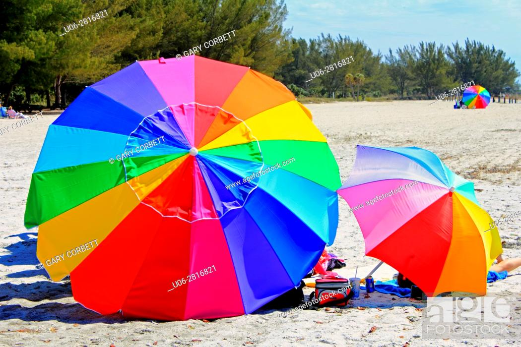 Stock Photo: colorful umbrellas in Florida.