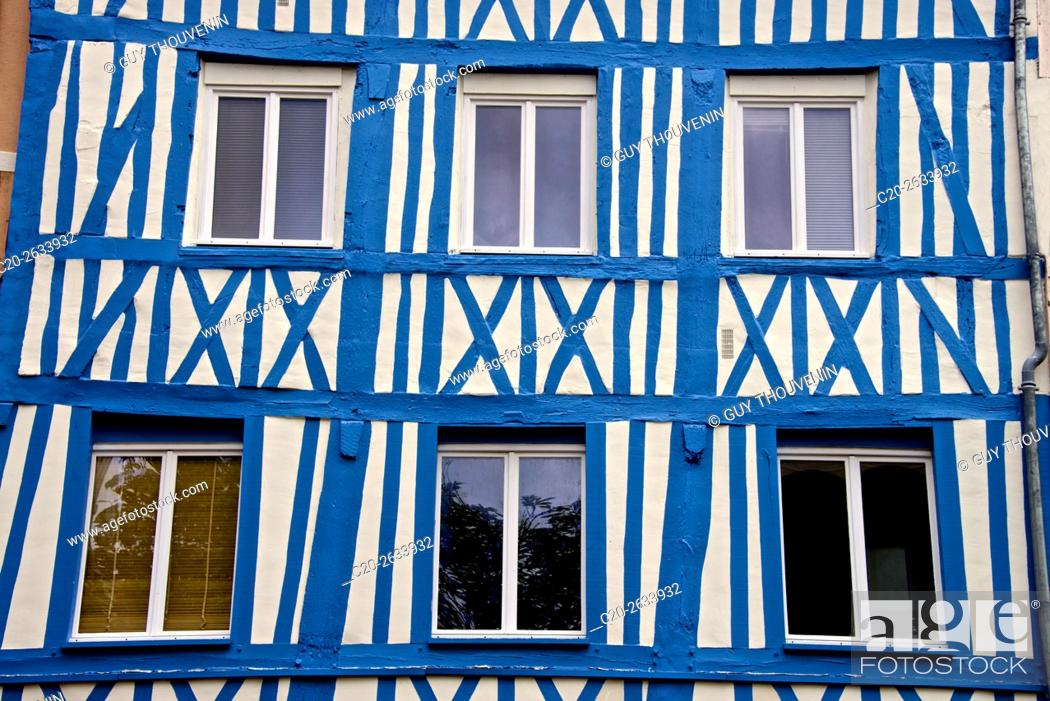 Stock Photo: half timbered norman facades, Rouen, 76, Normandy, france.