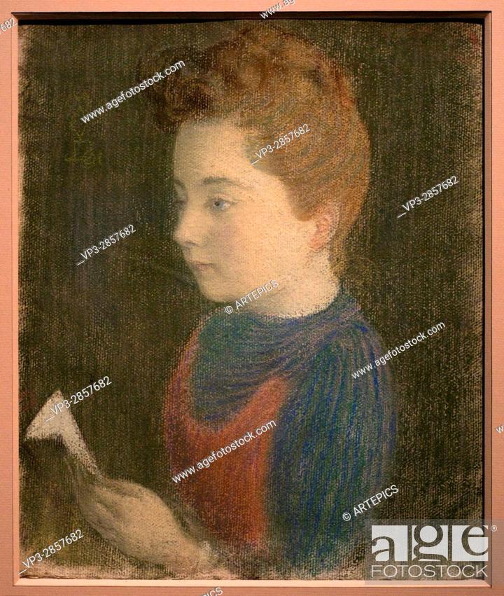 Stock Photo: Maurice Denis. Marthe fiancée. 1891. XIX th Century. French school. Orsay Museum -Paris. Pastel.
